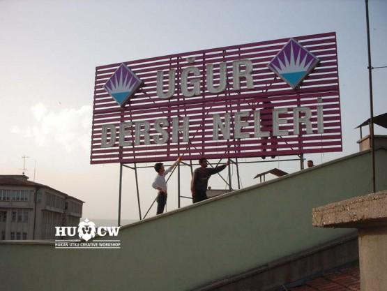 ışıklı çatı tabelası